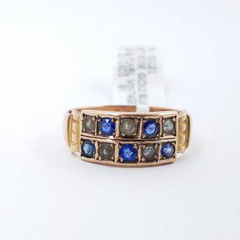 9CT VINTAGE ROSE GOLD BLUE GLASS & PEARL RING