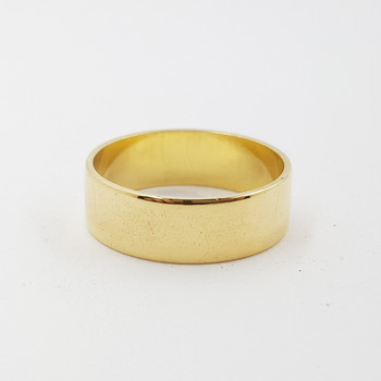 18CT 5.1GR YELLOW GOLD PLAIN WIDE BAND RING SIZE Q #52942 **