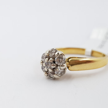 18CT YELLOW GOLD DIAMOND CLUSTER FLOWER RING SIZE K #23764