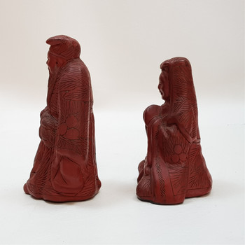 PAIR OF CHINESE CARVINGS - MAN & WOMAN STATUE / FIGURES #47011