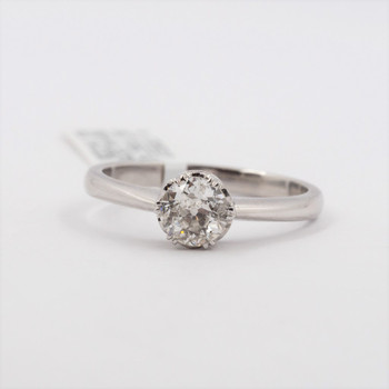 18CT WHITE GOLD OLD CUT 0.65CT DIAMOND SOLITAIRE RING VAL $5795 SIZE P #0705013