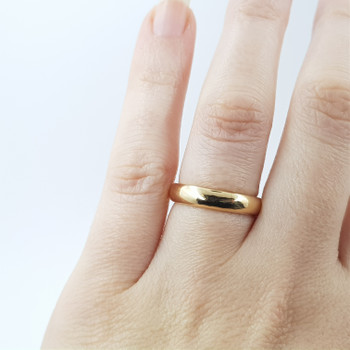 9CT YELLOW GOLD HANDMADE BAND RING SIZE L #9053