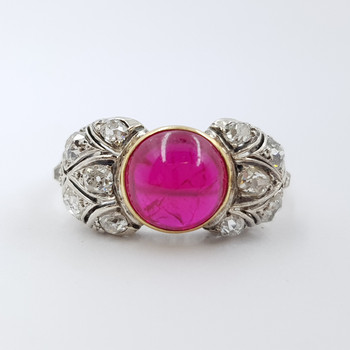 ANTIQUE 9CT TWO TONE RUBY CABOCHON & DIAMOND RING VAL $5350 SIZE P 1/4 #54115