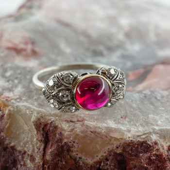 Antique two tone gold ruby cabochon and diamond ring