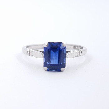 18CT WHITE GOLD SAPPHIRE RING SIZE P 1/2 #3298