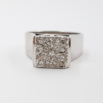 18CT 11.3GR WHITE GOLD FLORAL DIAMOND RING VAL $3920 SIZE M 1/2 #52108