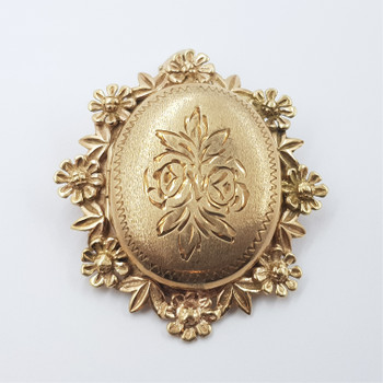 9CT VINTAGE YELLOW GOLD FLORAL LOCKET PENDANT / BROOCH #52883
