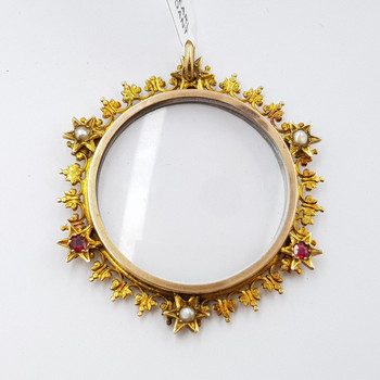 ANTIQUE 9CT YELLOW GOLD PEARL & RUBY LOCKET PENDANT #54069