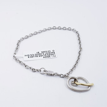 SILVER BRACELET WITH TWO TONE HEART PENDANT 19CM #35024