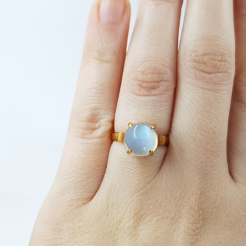 18CT YELLOW GOLD MOONSTONE RING SIZE K 1/2 #52669