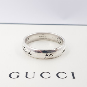 """GUCCI SILVER """"BLIND FOR LOVE"""" RING IN GIFT BOX #54187"""