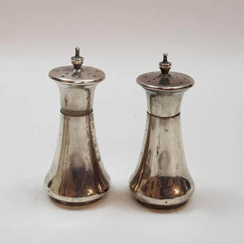 ANTIQUE STERLING SILVER SALT & PEPPER SHAKERS (LONDON 1920) #42926