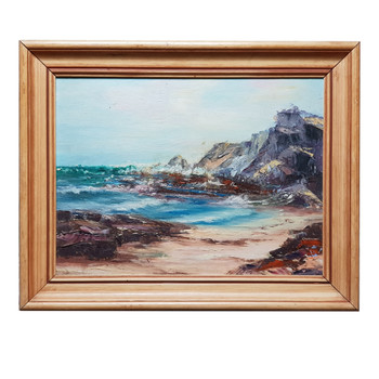 VINTAGE UNSIGNED PAINTING - BEACH - OIL ON BOARD #53867
