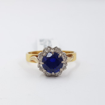 18CT YELLOW GOLD SAPPHIRE & DIAMOND RING VAL $1770 SIZE N #54327