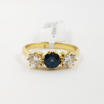 18CT YELLOW GOLD SAPPHIRE & DIAMOND TRILOGY RING VAL $5450 SIZE N #54325