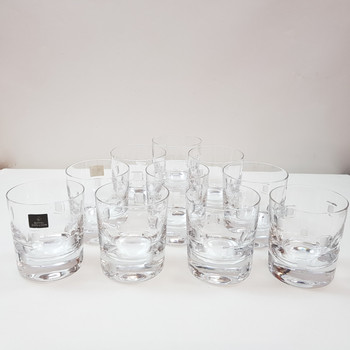 SET OF 10 ROYAL DOULTON CRYSTAL GLASSES SQUARES (ONE CHIPPED) #38732