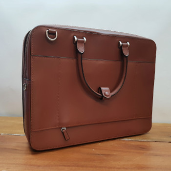 FAIRE LEATHER CO. BOND EP ALL-PURPOSE BROWN BRIEFCASE RRP $632 #53670