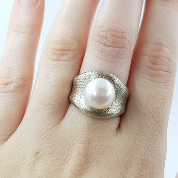 SILVER PEARL DRESS RING SIZE M 1/2 #23233