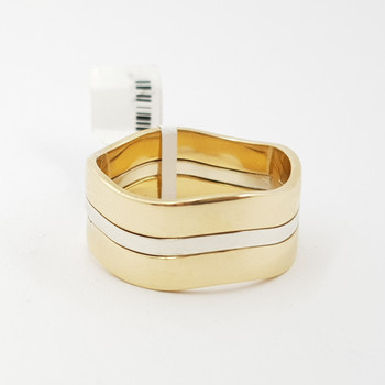 9CT 2 TONE MEN'S WAVE GOLD BAND - RING SIZE Y 1/2 #52987