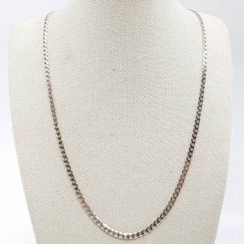9CT WHITE GOLD CURB LINK CHAIN NECKLACE #9601 **