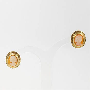 9CT YELLOW GOLD VINTAGE CAMEO EARRINGS #14764