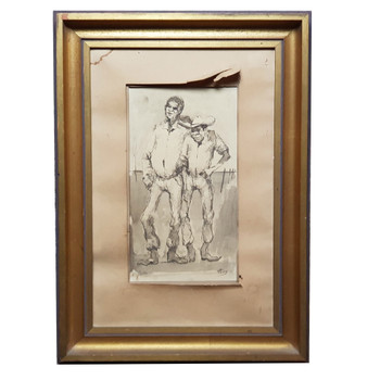 W.R (MIKE) LYONS (1930-1985) PAINTING - ALFIE WUOD & WAGGA KENNEDY INK ON PAPER #53890
