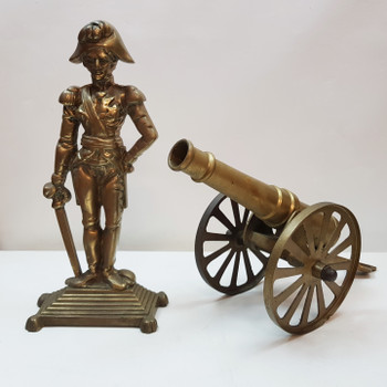 BRASS FRENCH SOLDIER AND CANNON FIGURINE / STATUES #54062