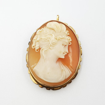 Vintage 7ct Yellow Gold Cameo Brooch / Pendant #42815