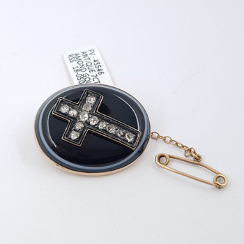 Antique 7ct Gold Agate & Diamond Cross Mourning Brooch #45546