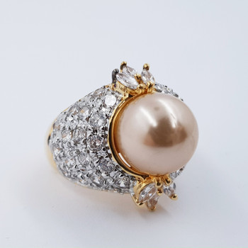 *New* Sterling Silver Yellow Gold Plated Pearl Imitation Cocktail Ring Size L #54661