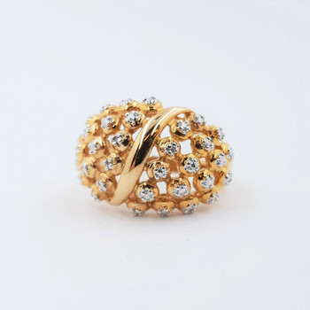 *New* Sterling Silver Yellow Gold Plated Diamond Dress Ring Size N