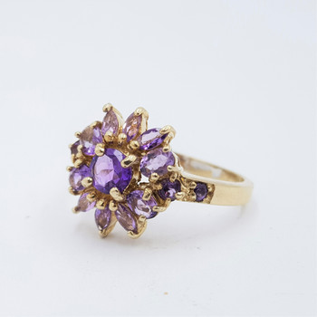 *new* Yellow Gold Plated Sterling Silver Amethyst Ring Size R1/2 #54660