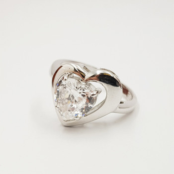 *New* Sterling Silver 925 Love Heart Ring Size N #54730