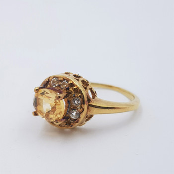 *New* Yellow Gold Plated Sterling Silver Citrine Stone Ring Size Q #54667
