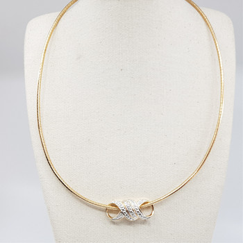 *New* Sterling Silver Yellow Gold Plated Necklace & Pendant 44cm #54697