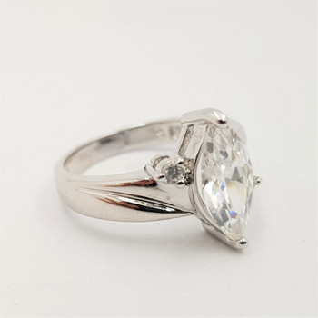 *New* Sterling Silver 925 Marquise Cut CZ Ring Size L #54724