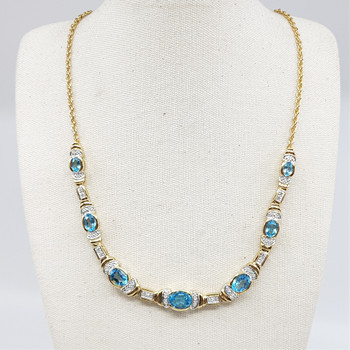 *New* Sterling Silver Yellow Gold Plated Topaz & Diamond Necklace 48cm #54699