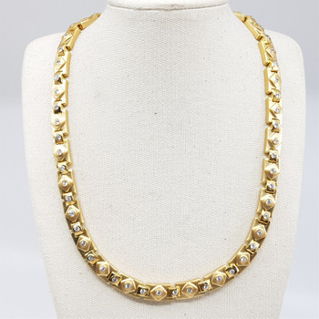 *New* Sterling Silver Yellow Gold Plated Chunky Necklace 42cm #54705