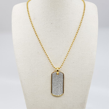 *New* Sterling Silver Yellow Gold Plated Necklace & Diamond Dog Tag Pendant 50cm #54709