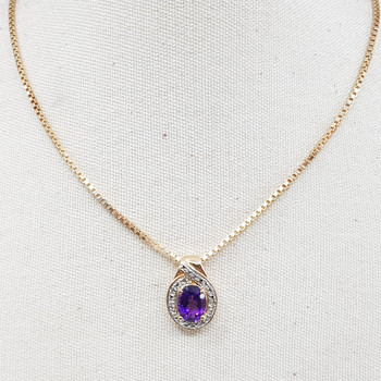 *New* Sterling Silver Yellow Gold Plated Amethyst Diamond Necklace & Pendant 45cm #54695