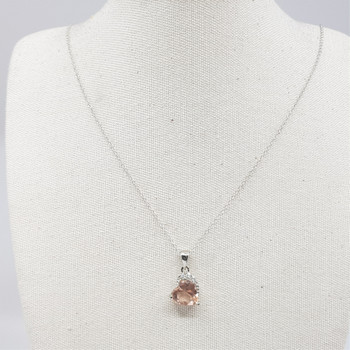 *New* Sterling Silver Necklace & Pink Love Heart CZ Pendant #54813