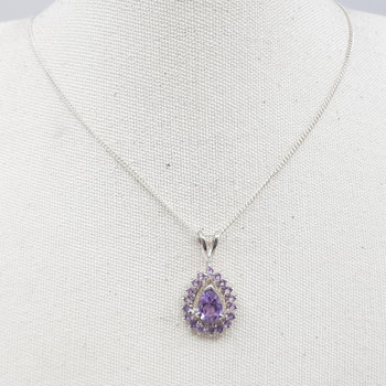 *New* Sterling Silver Necklace & Pear Shape Amethyst Pendant 41cm #54814