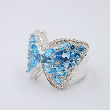 *New* Sterling Silver 925 Butterfly Topaz & CZ Ring Size M #54747