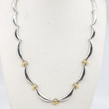*New* Sterling Silver Two Tone Necklace 42cm #54819