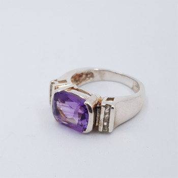 *New* Sterling Silver 925 Amethyst & CZ Ring Size K #54759