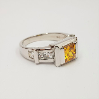 *New* Sterling Silver Citrine & CZ Ring Size P #54753