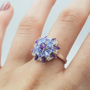 *New* Sterling Silver Amethyst & Tanzanite Ring Size N #54762