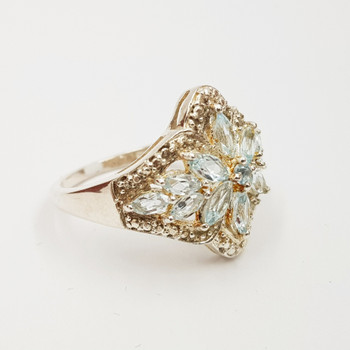 *New* Sterling Silver 925 Topaz Dress Ring Size N #54778