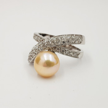 *New* Sterling Silver 925 Pearl & CZ Ring Size N #54781
