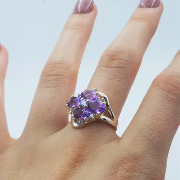 *New* Sterling Silver 925 Amethyst & Tanzanite Ring Size N #54773
